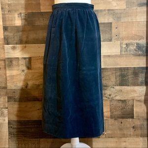 Vintage Ralph Lauren Navy Blue Corduroy Midi Skirt